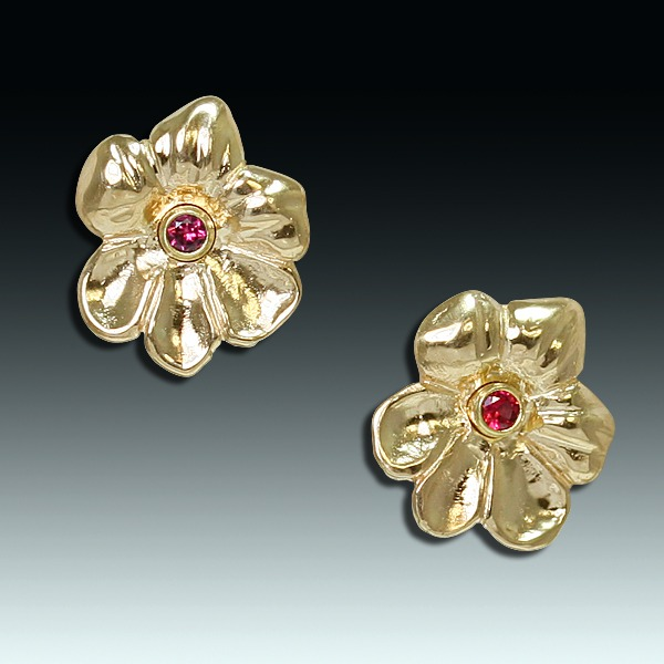 Violets 14 Karat Gold And Spinel Earrings
