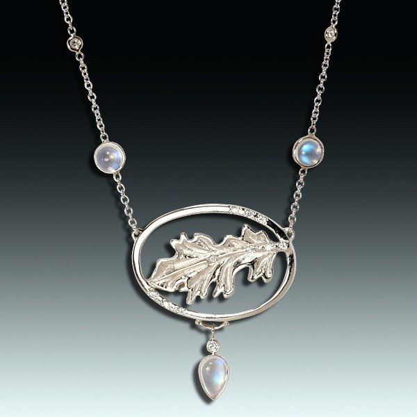 """A clear future"" moonstone necklace"